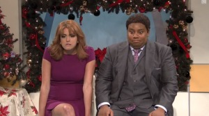 Kip (Kenan Thompson) and Jenny (Cecily Strong) try getting through a horrible news morning on their sunny TV show. Courtesy: NBC/YouTube