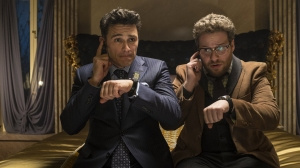 James Franco and Seth Rogen count the minutes until they're done having to appear in The Interview