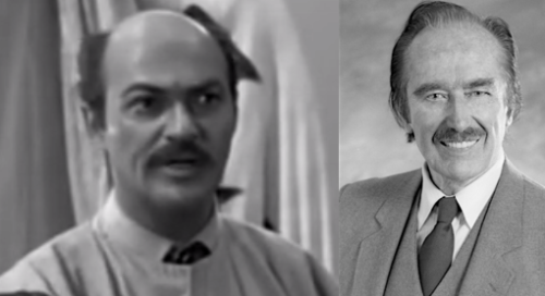 "(l.to r.) Lawrence Dobkin playing ""Trump"" and the real Fred Trump"